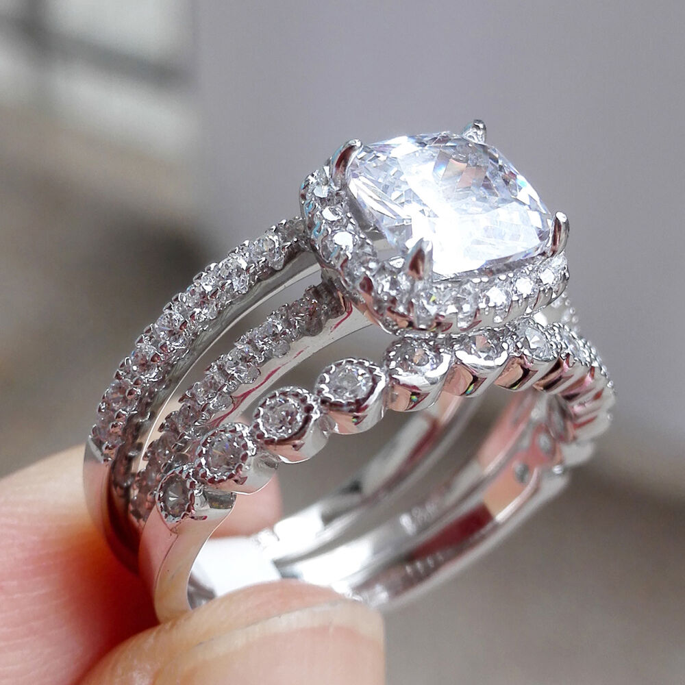 White sapphire cz 925 sterling silver engagement wedding for Best place to sell wedding ring set
