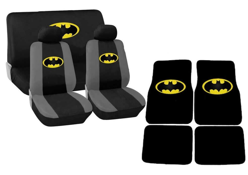 Black And Yellow Batman Car Seat Covers Floor Mats Set HS3