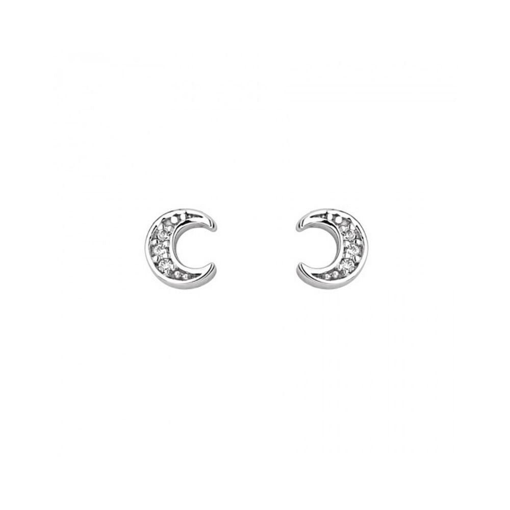 9ce336df6 Details about .925 Sterling Silver Cubic Zirconia Small Half Moon Stud  Earrings Screw Back .