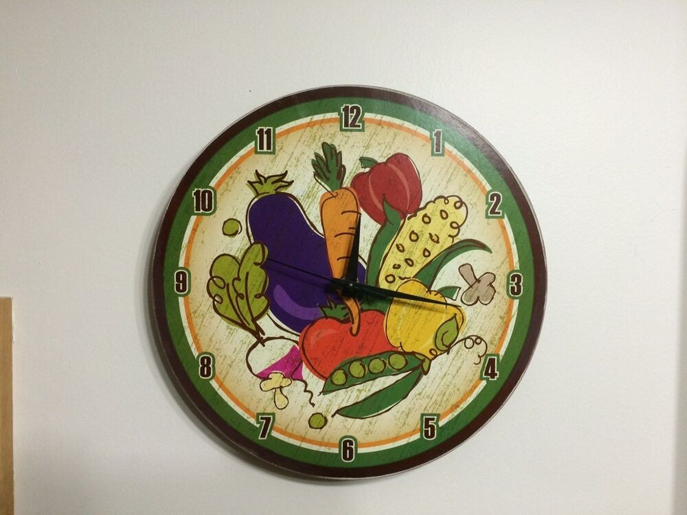 Http Www Ebay Com Itm Vegetable Garden Wooden Wall Clock Tomato Eggplant Corn Veggie Kitchen Decor 262228234557