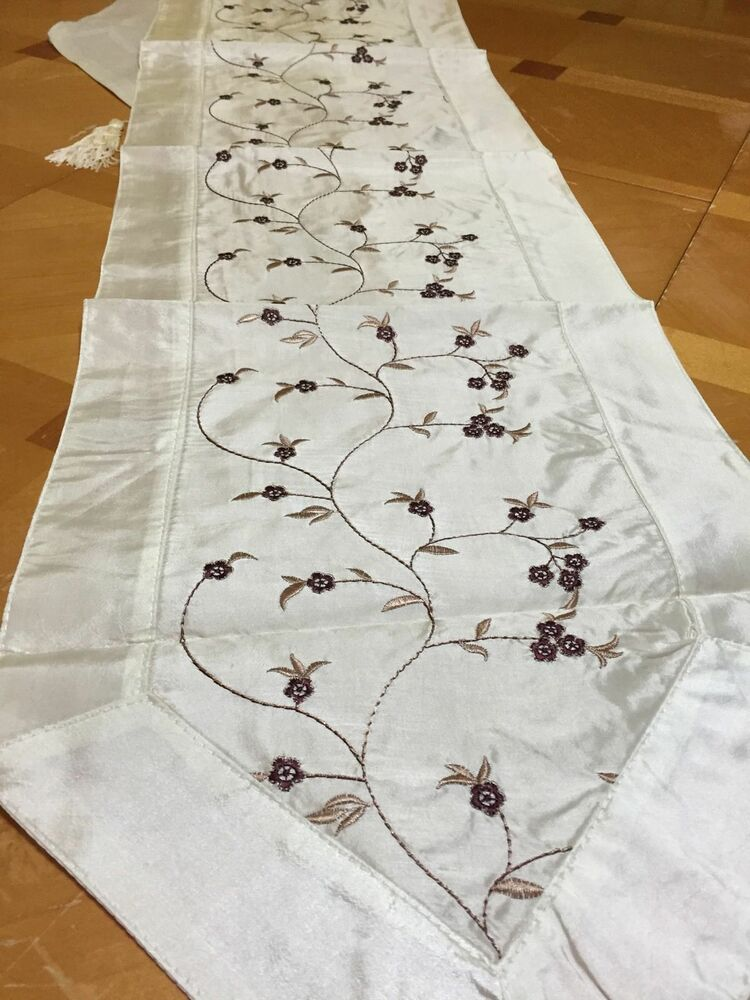 Floral Embroidered Table Runner Berry Blue Jessica Table