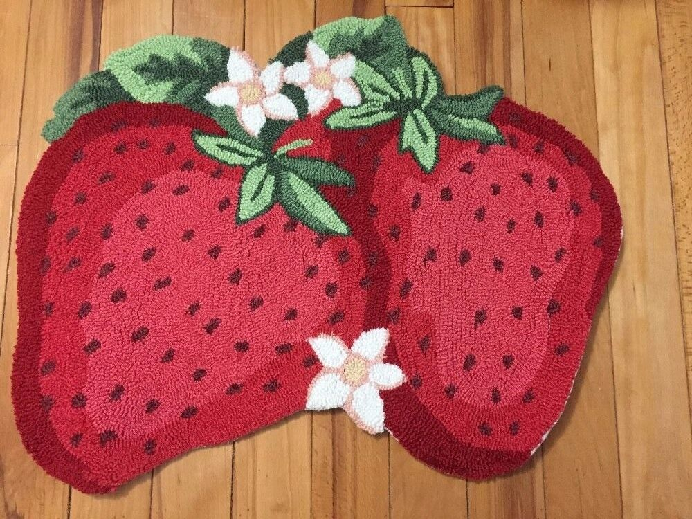 Strawberry Shaped Kitchen Accent Rug Flowers Fruit Kids