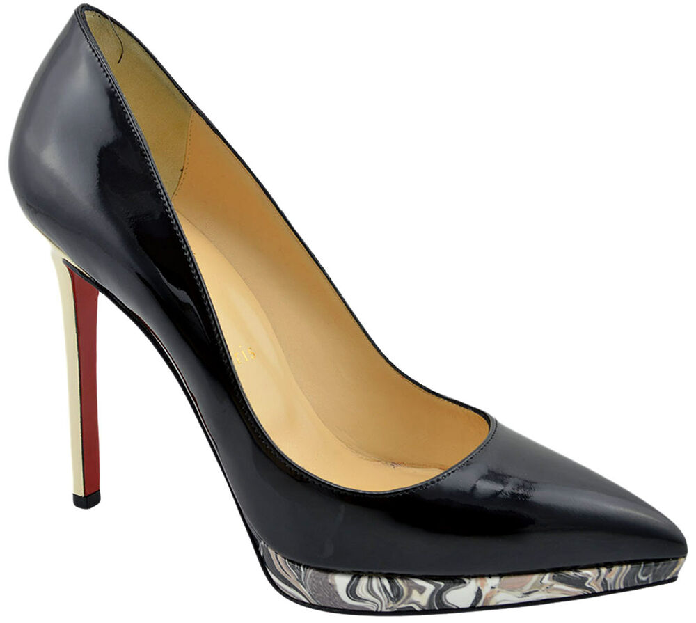 christian louboutin black pigalle plato leather pumps high. Black Bedroom Furniture Sets. Home Design Ideas