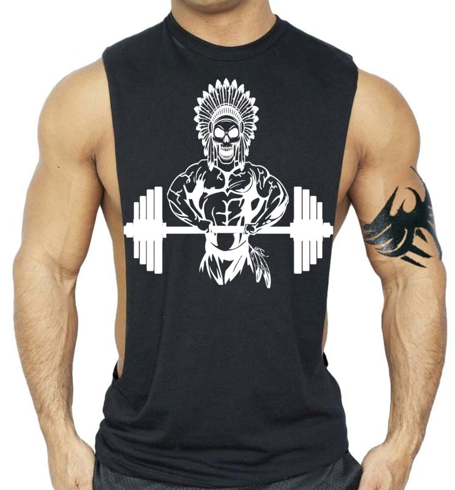 Men 39 S Native Indian Chief Skull Black Workout Tank Top
