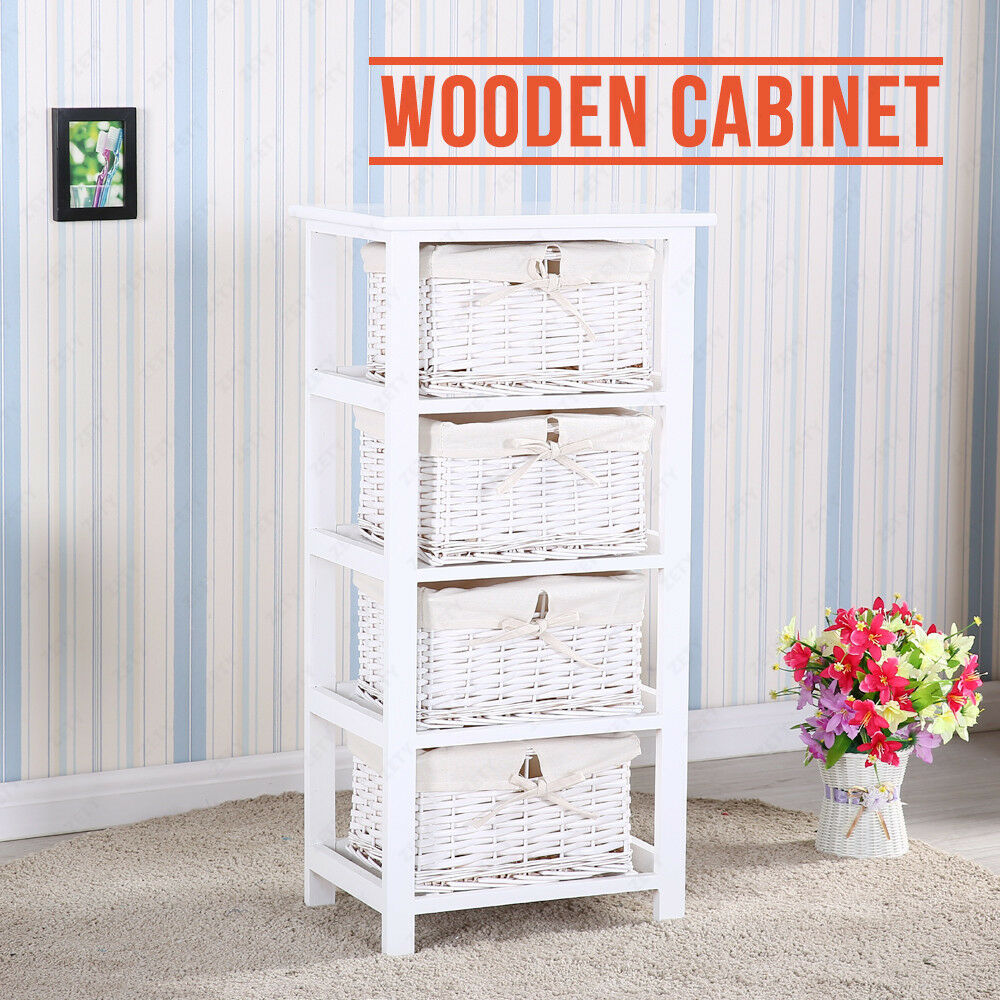 retro shabby chic white cabinet storage with 4 drawers wooden wicker baskets ebay. Black Bedroom Furniture Sets. Home Design Ideas