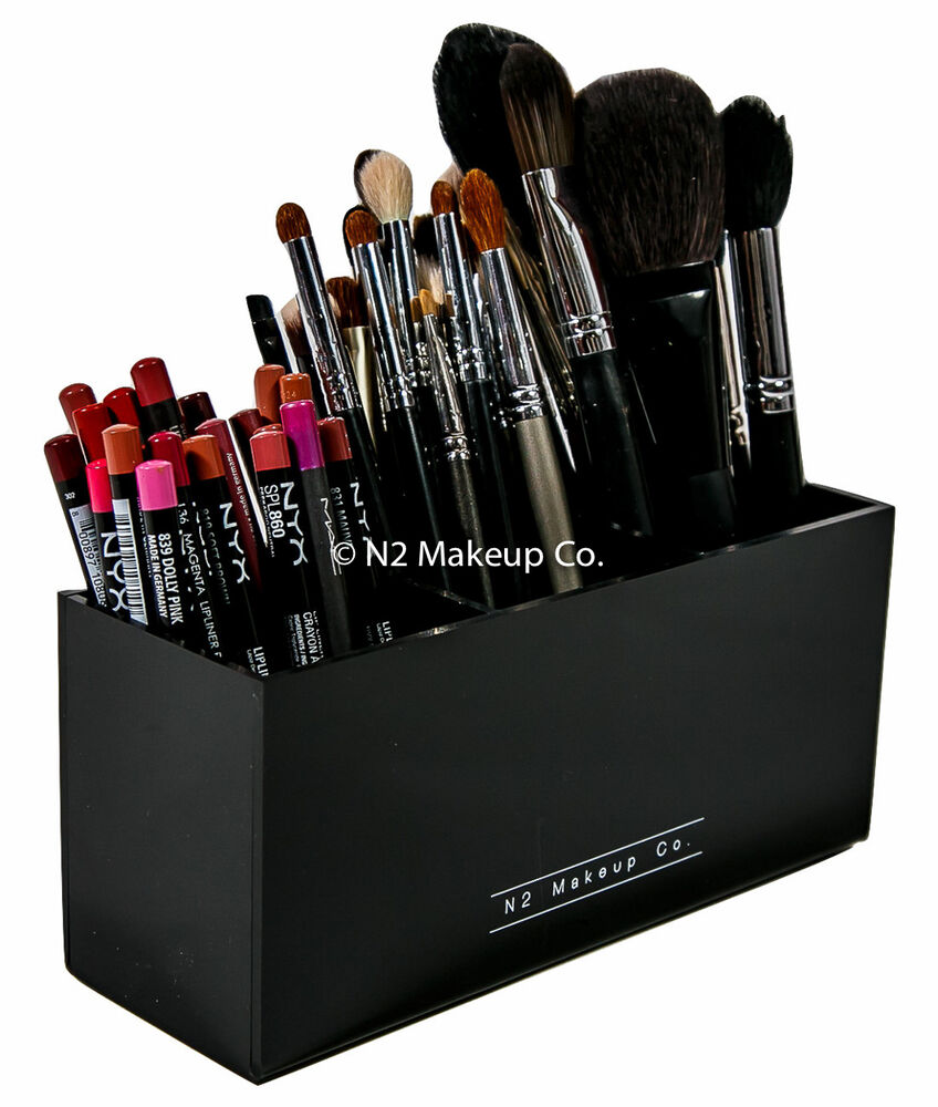 acrylic makeup brush holder 3 slot eyeliner pencil organizer by n2 makeup co ebay. Black Bedroom Furniture Sets. Home Design Ideas