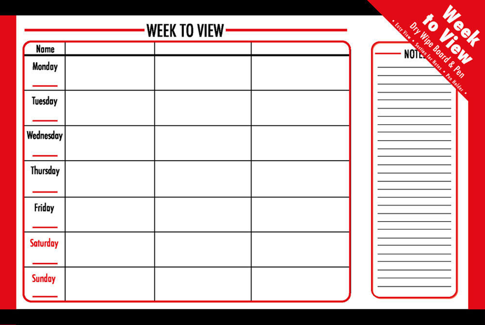 Dry Wipe Weekly Week To View Planner Notice Memo Notes