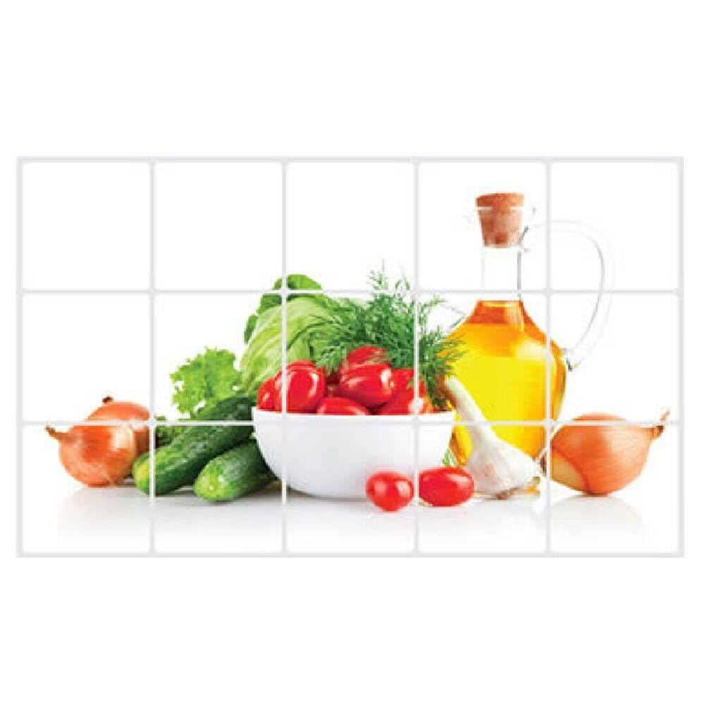 Home Kitchen Decor Picture Fresh Fruit Salad Wall: Fruits Waterproof Kitchen Sticker Bathroom Tile For Wall
