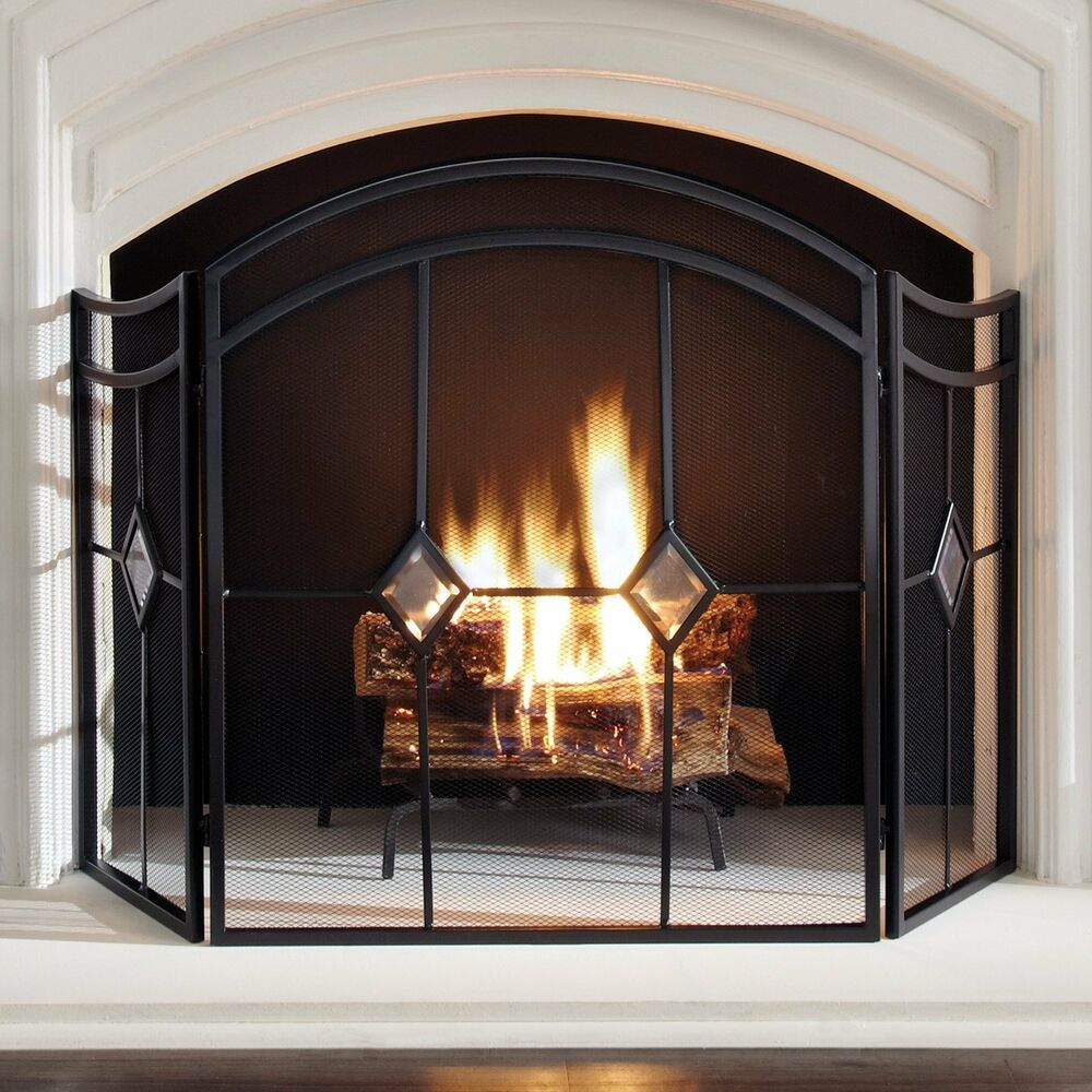 pleasant hearth fa328s diamond 3 panel fireplace screen espresso