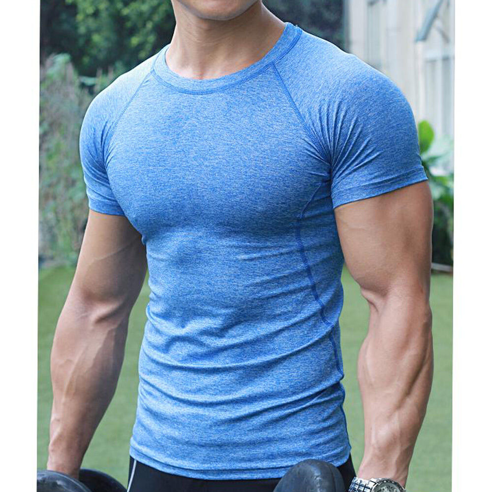 Men 39 s compression base t shirt layer short sleeve gym for Compression tee shirts for men
