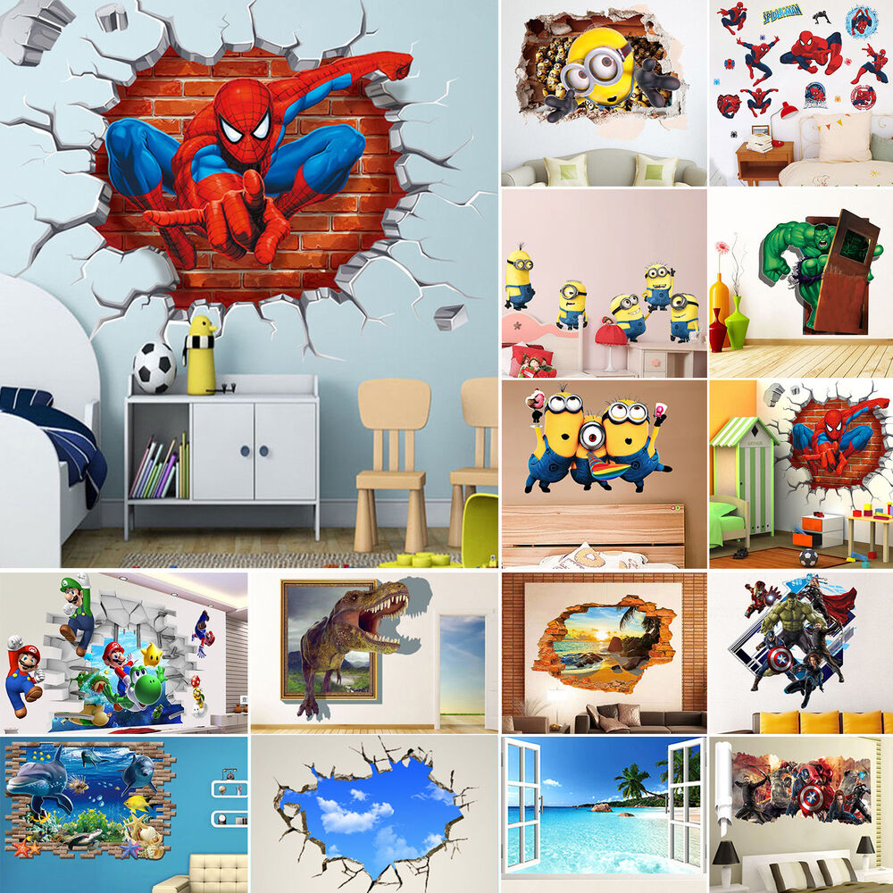 Removable 3d stickers diy vinyl wall stickers mural decal for Childrens wall mural stickers