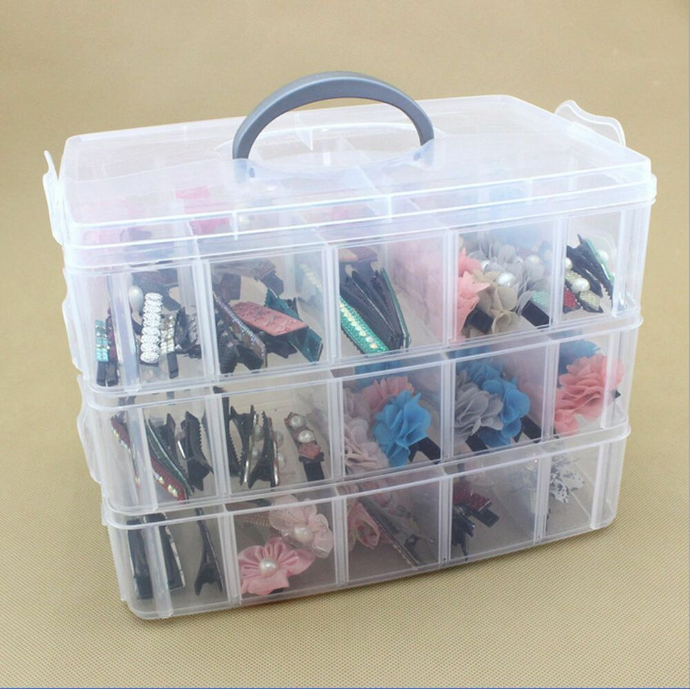 clear plastic craft beads jewellery storage organiser