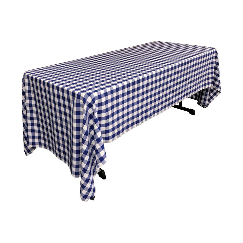 La Linen Polyester Checkered 60 By 120 Inch Rectangular