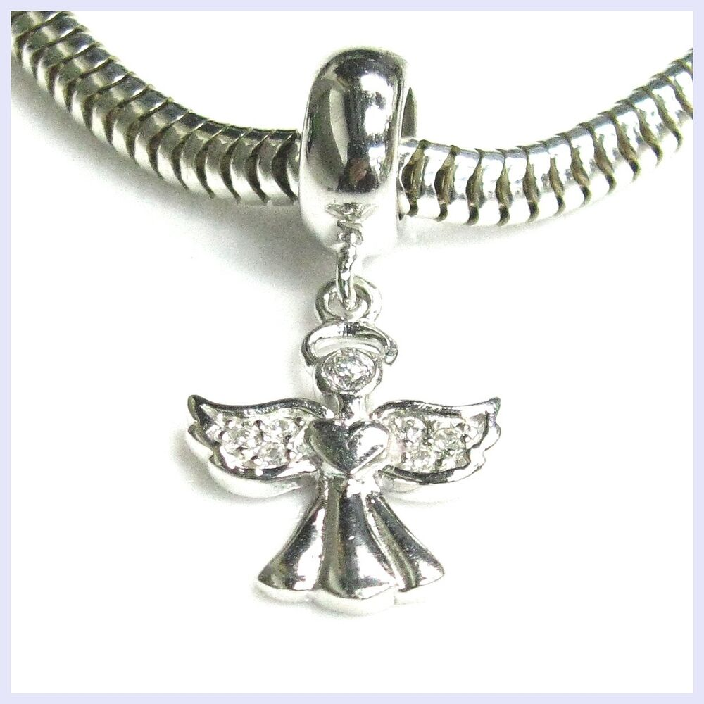 Silver Bracelets With Charms: Sterling Silver Angel Clear CZ Crystal Dangle Bead For