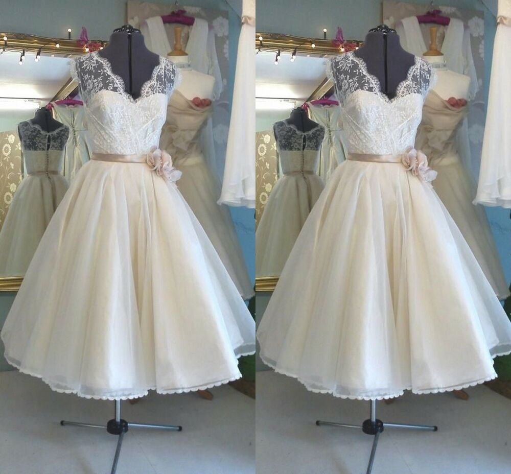 Vintage 1950's Tea Length Wedding Dresses A Line Bridal