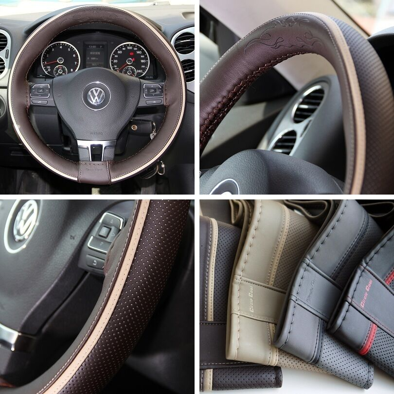 14 steering wheel cover brown w beige strip pvc leather wrap 47016 coupe small ebay. Black Bedroom Furniture Sets. Home Design Ideas