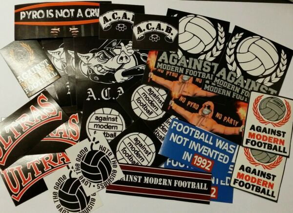50x Against Modern Football / ACAB Stickers - AMF - Ultras Casuals + Pin Badge