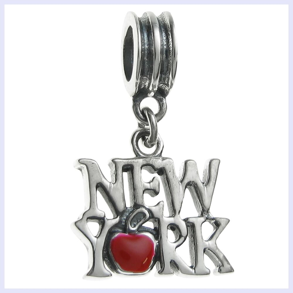 New Charm Bracelets: Sterling Silver New York City Big Apple Enamel Bead F