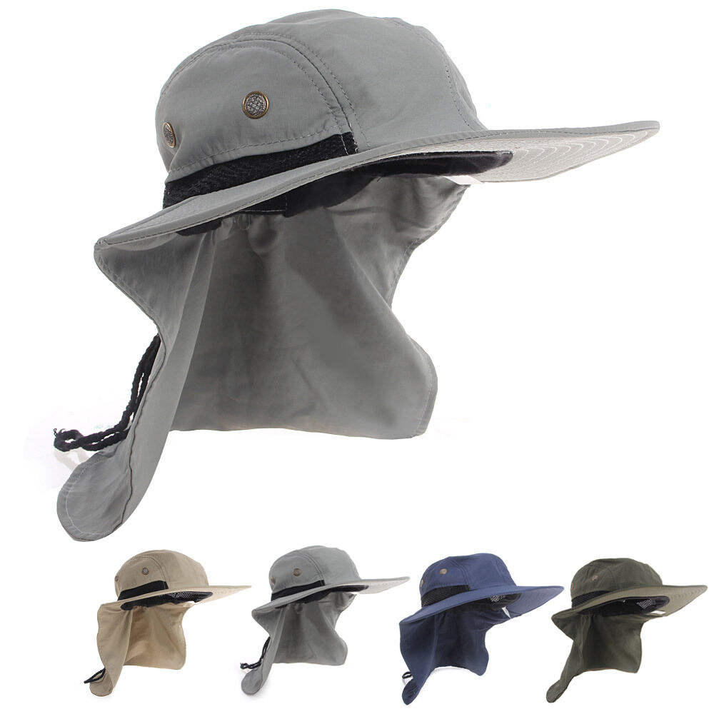 Fishing outdoor hiking boonie hunting snap hat brim ear for Fishing neck cover