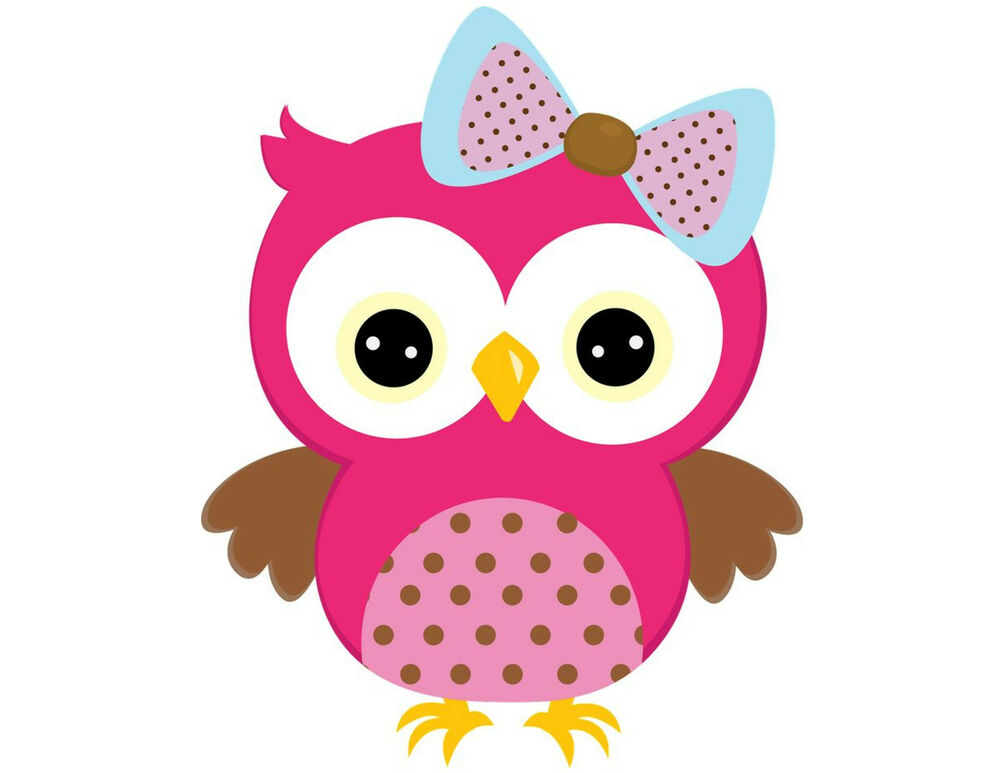 Owl pink 130 small or 48 large sticky white paper stickers - Chouette rigolote ...