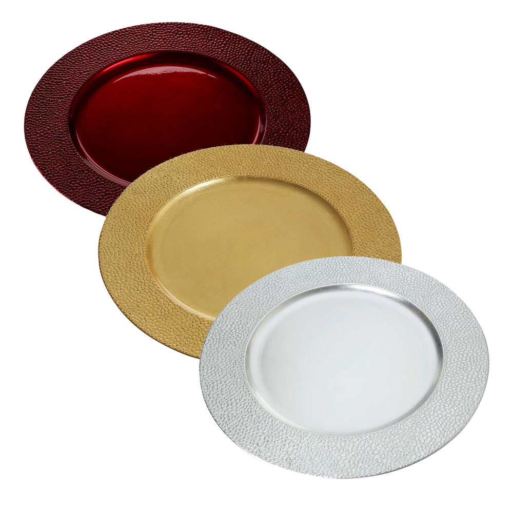 Charger Dinner Under Plate Wedding Serve Table Protect Christmas Red Gold Sil