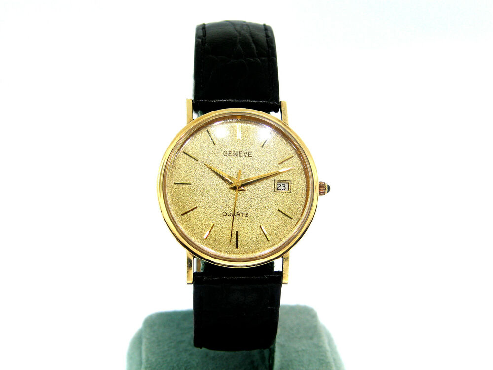 14k yellow gold geneve wrist with leather band ebay