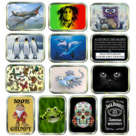img-Gold 2oz Tobacco Tin, Stash Can, Storage Tin, 30 Modern Designs Keep Sake Pocket