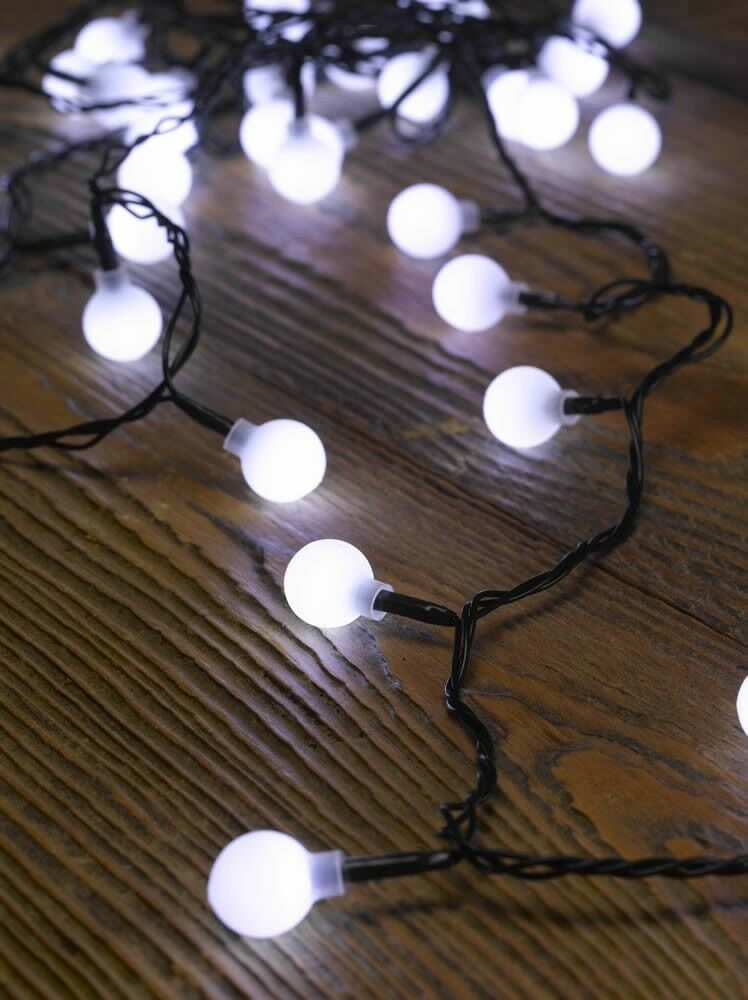 Smart Garden Ball String Lights 50 White Led Battery
