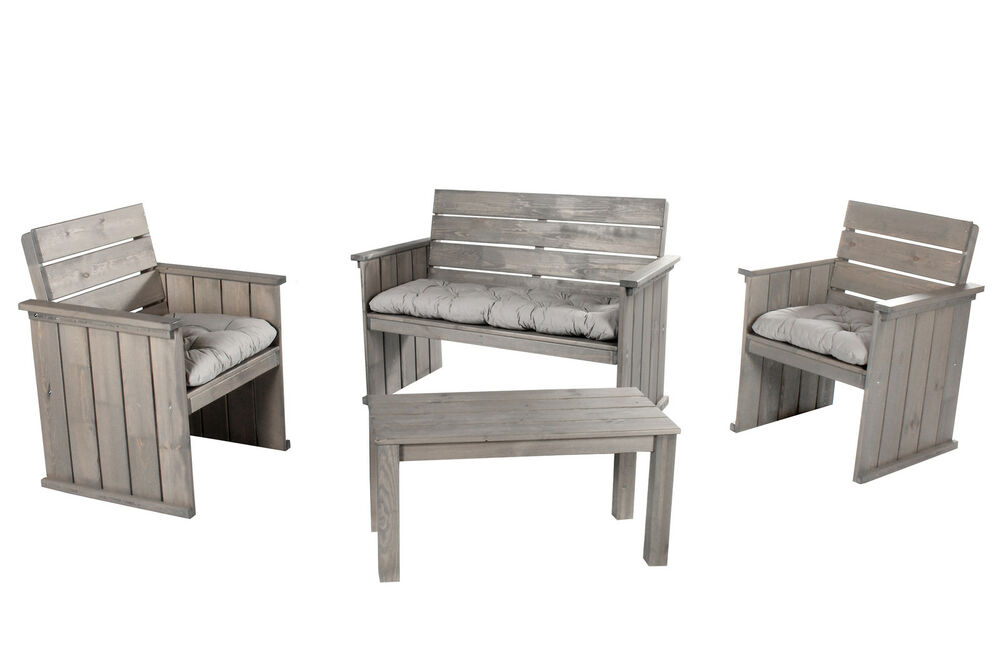 7tlg loungegruppe sitzgruppe massivholz grau bank sessel gartenm bel set shabby ebay. Black Bedroom Furniture Sets. Home Design Ideas