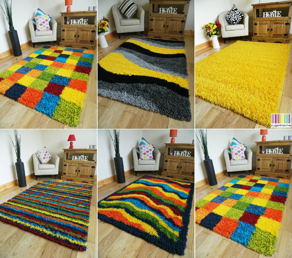 Yellow Shaggy Rug Uk: MULTI COLOURED FUNKY BRIGHT MODERN THICK SOFT HEAVY YELLOW