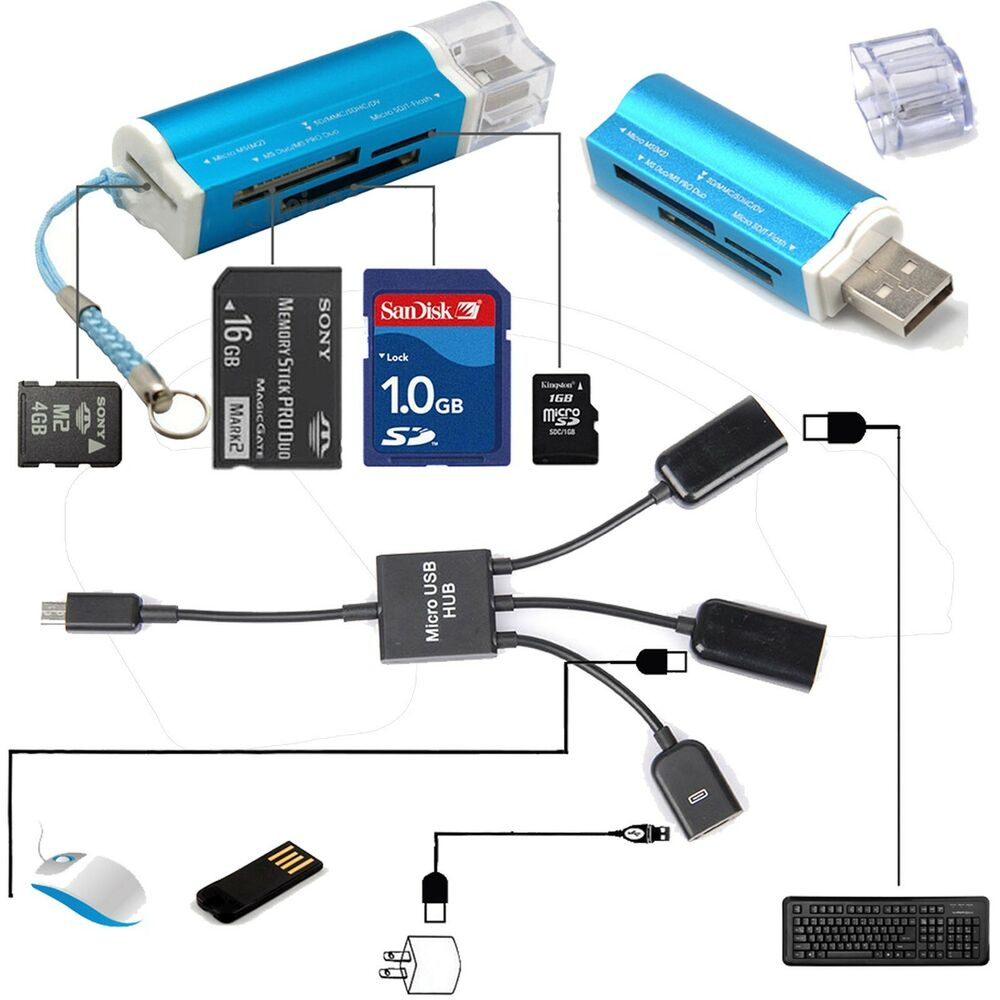 Dual Micro USB Host OTG Hub Adapter Cable + All In 1 USB 2