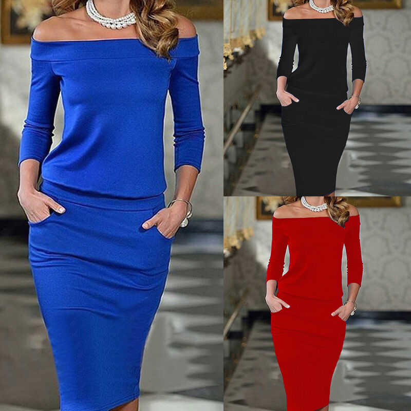 Women Bandage Bodycon Long Sleeve Evening Sexy Party Cocktail Pencil Midi Dress