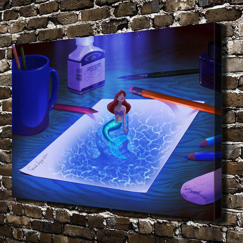 Home decor little mermaid oil painting hd print on canvas for Art painting for home decoration