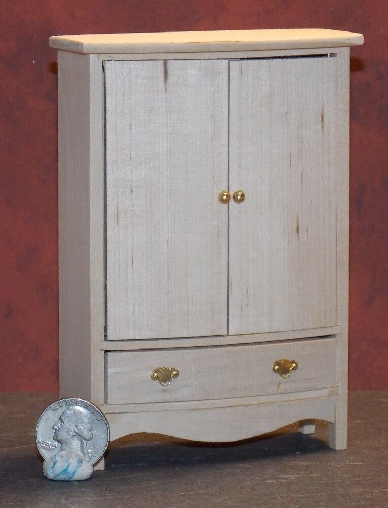 Dollhouse Miniature Armoire Unfinished Wardrobe Closet 1