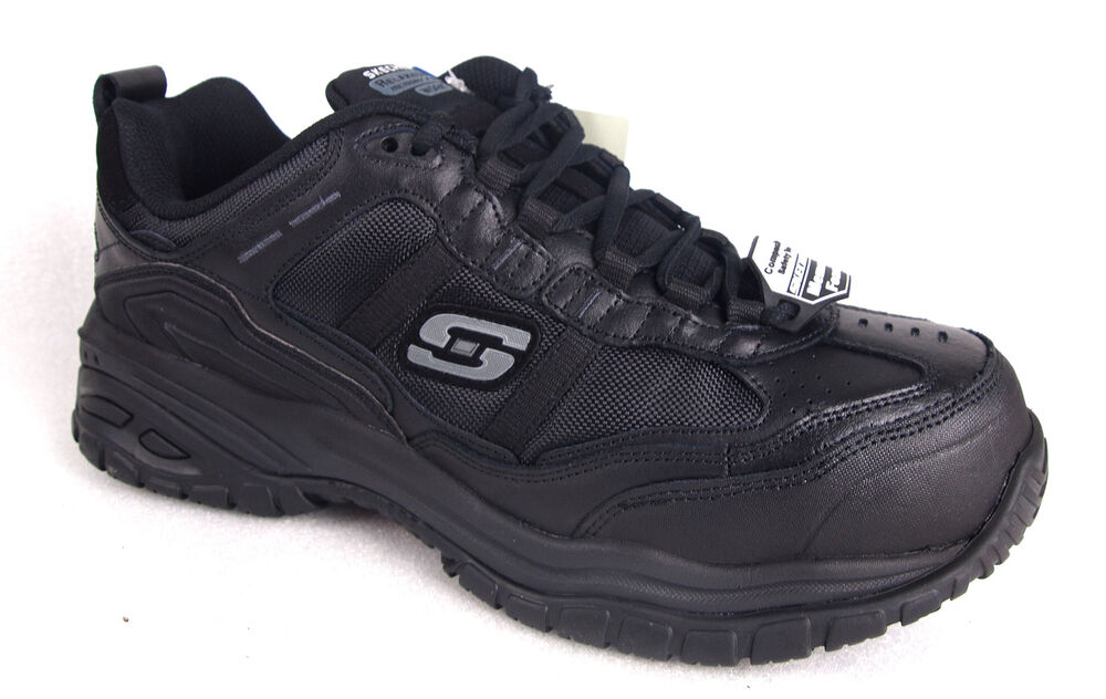 Skechers Menu0026#39;s 77013 Black Composite Toe Safety Work Shoes--Special | EBay