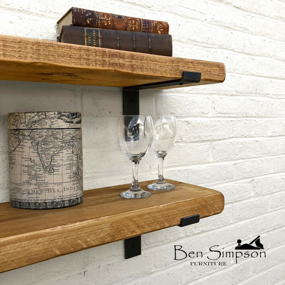 Rustic Chunky Industrial Shelf Shelves Metal Brackets