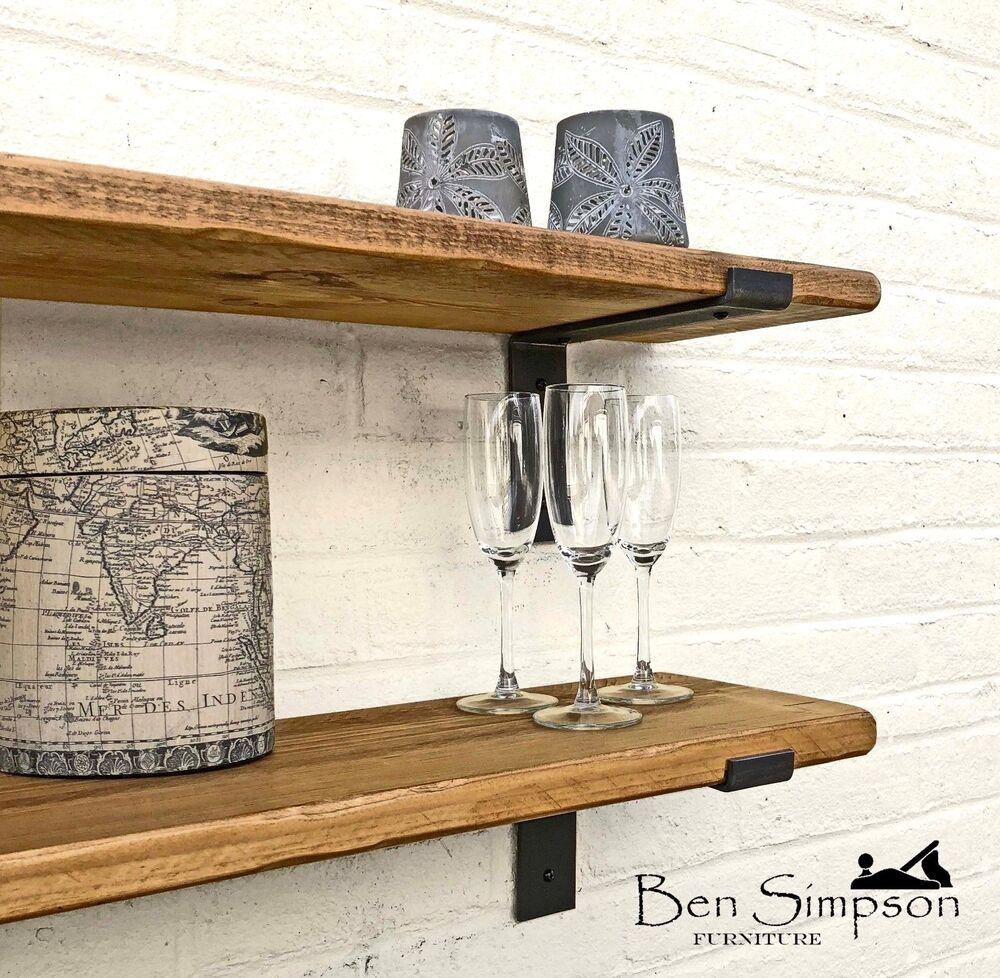 rustic thin industrial shelf shelves metal brackets solid. Black Bedroom Furniture Sets. Home Design Ideas