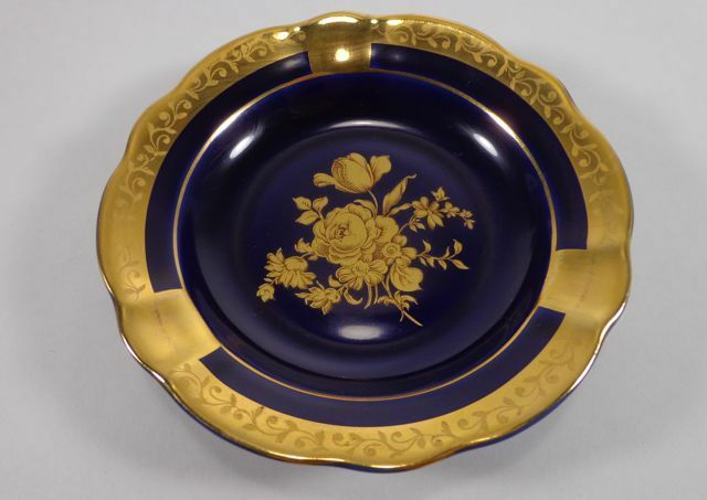 limoges veritable porcelaine d 39 art floral ash tray cobalt blue vintage ebay. Black Bedroom Furniture Sets. Home Design Ideas