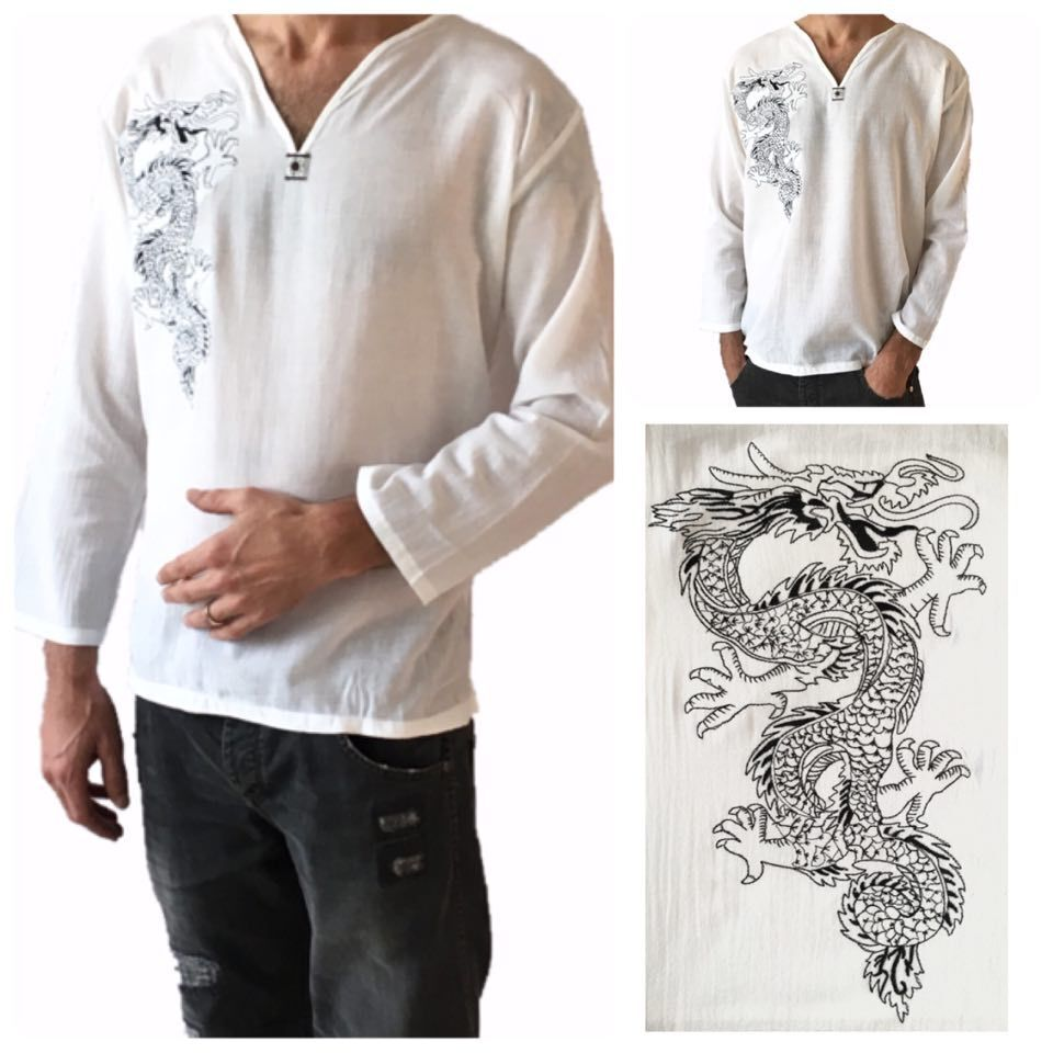 Men 39 s white dragon t shirt 100 cotton thai hippie shirt v for Mens 100 cotton t shirts