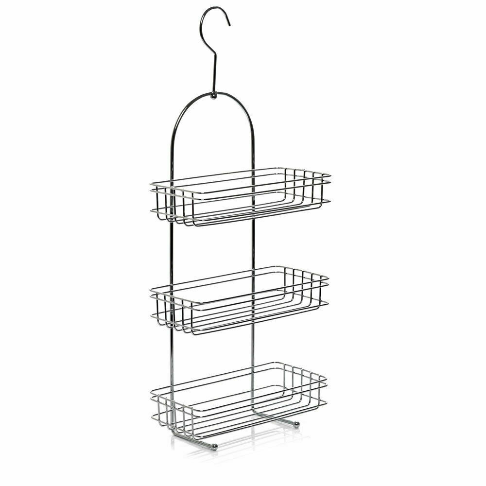 LARGE 3 TIER CHROME HANGING SHOWER CADDY STORAGE TIDY