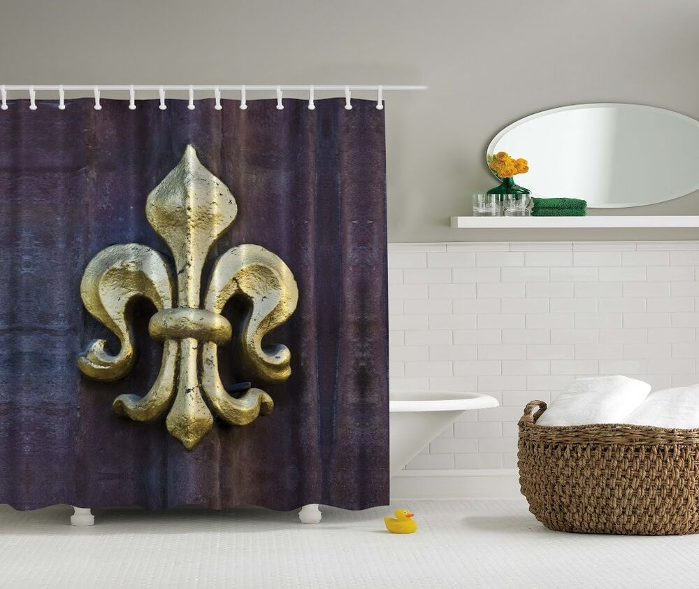 Rustic Fleur-de-lis Digital Print Shower Curtain French
