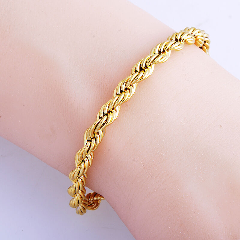 fashion jewelry 14k gold filled rope chain bracelet womens. Black Bedroom Furniture Sets. Home Design Ideas