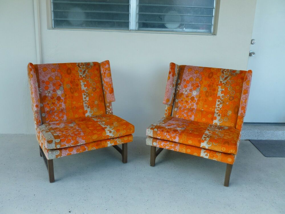 Pair 60 S Dunbar Edward Wormley Winged Club Chairs W Jack