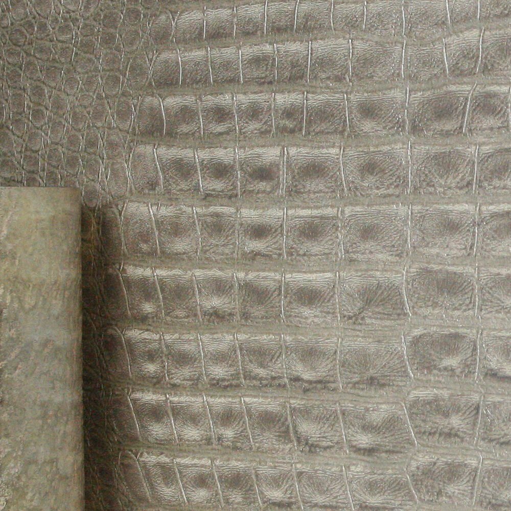 faux animal crocodile skin leather effect wallpaper in