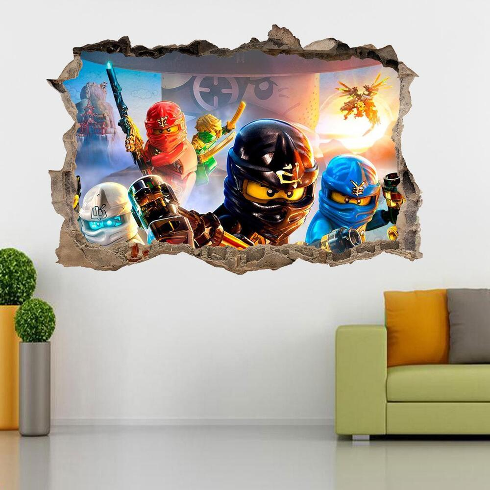 Lovely LEGO NINJAGO Smashed Wall 3D Decal Removable Graphic Wall Sticker Mural  H153 | EBay