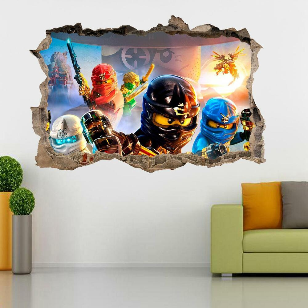 lego ninjago smashed wall 3d decal removable graphic wall sticker mural h153 ebay. Black Bedroom Furniture Sets. Home Design Ideas