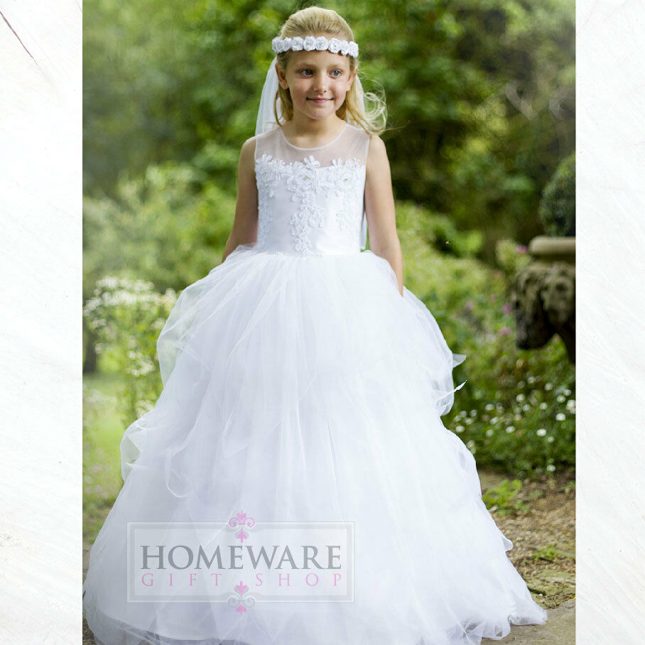 Girls holy communion dresses bridesmaid wedding flower for Ebay wedding bridesmaid dresses