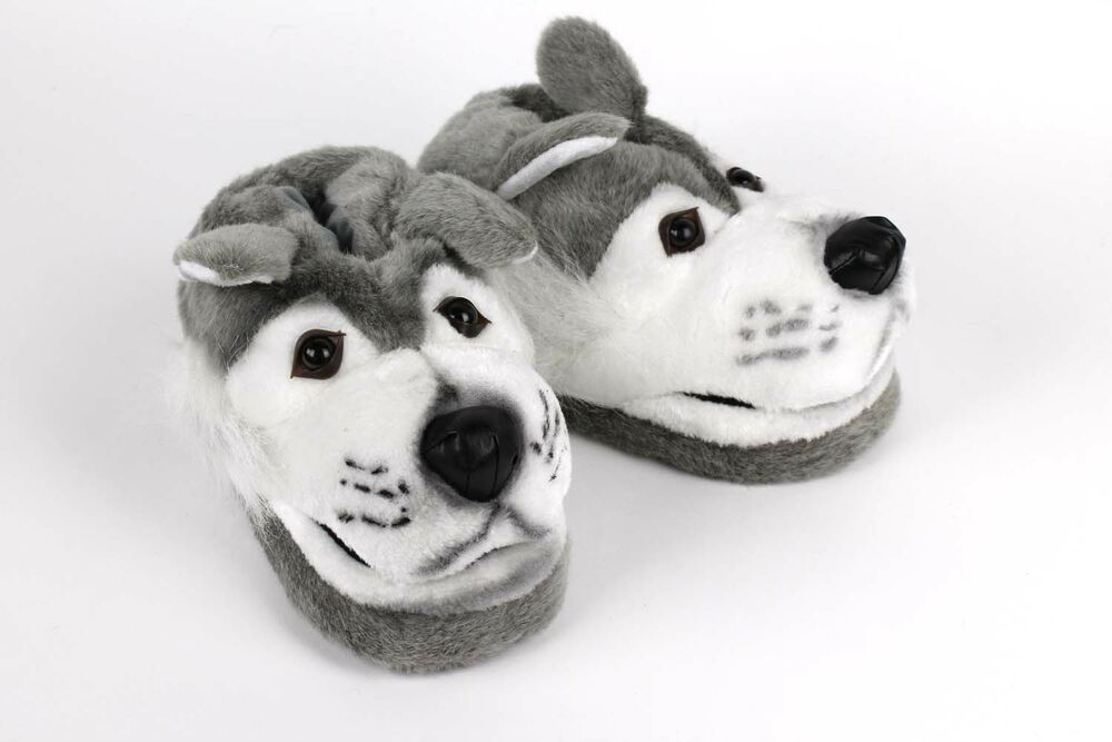 39689a65e93d Gray Wolf Slippers - Animal Slippers - Adult and Kids Sizes In Stock ...