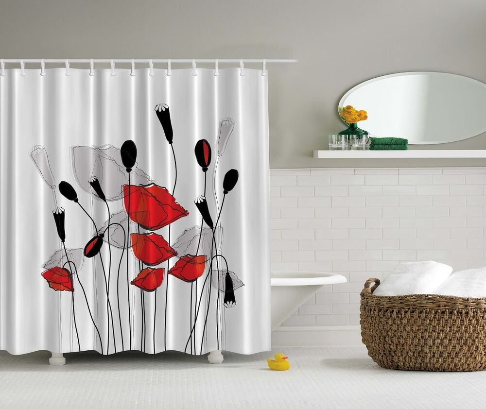 Shower Bathroom Sets: Elegant Floral Poppy Digital Print Shower Curtain Gray Red