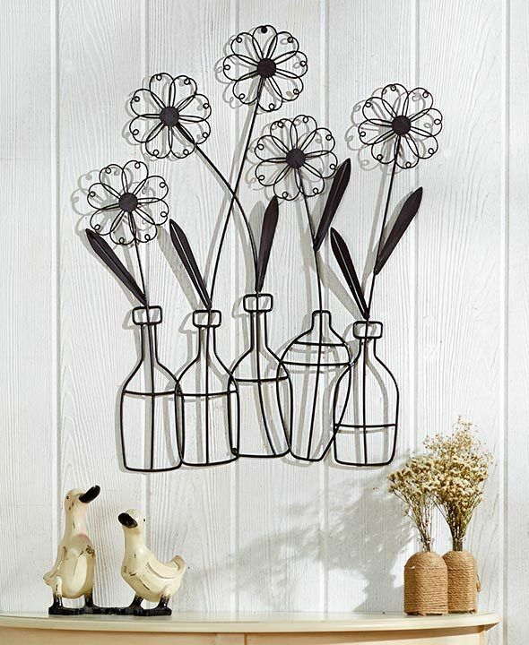 metal flower in a vase wall art floral leaves silhouette metal wall decor ebay. Black Bedroom Furniture Sets. Home Design Ideas